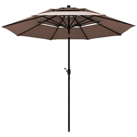 Outdoor Auto-tilt Patio Market Umbrella with Double Vented