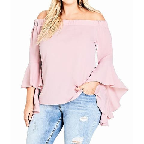 City Chic Womens Blouse Pink 20W L/20 Plus Off Shoulder Angel Sleeves