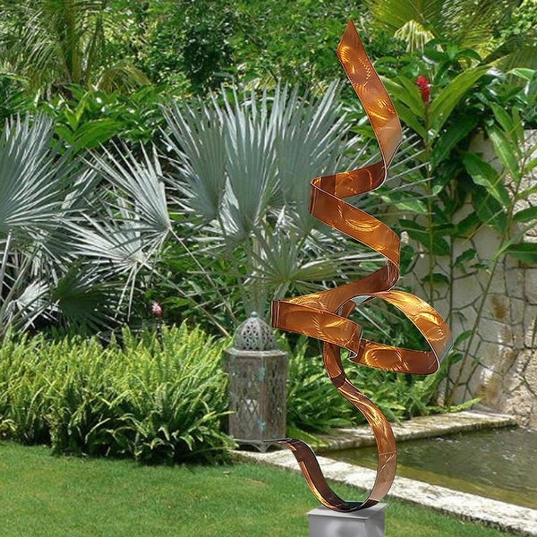Statements2000 Large Metal Sculpture Modern Indoor Outdoor Garden Art Decor by Jon Allen - Copper Perfect Moment Silver base
