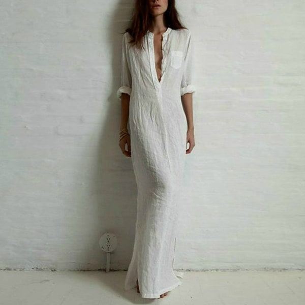 70d94b2942b1 Shop Women Sexy Casual Dress Long Sleeve Deep V Neck Linen Split Solid Long  Maxi Dress - Free Shipping On Orders Over $45 - Overstock - 23018351