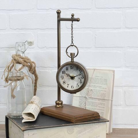 Metal - Tabletop Hanging Clock - 3.9 x 7.25 x 13.25