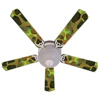 Green Camouflage Custom Designer 52in Ceiling Fan Blades Set - Multi