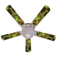 Green Camouflage Print Blades 52in Ceiling Fan Light Kit - Multi