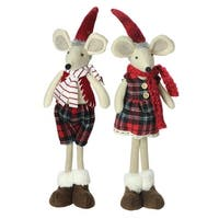 Set of 2 Plush Red Plaid Standing Christmas Mice Decorations - WHITE