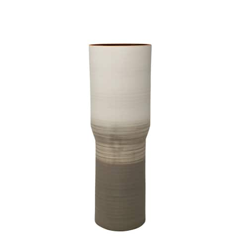 Rustically Charmed Decorative Ceramic Vase, Ivory & Beige