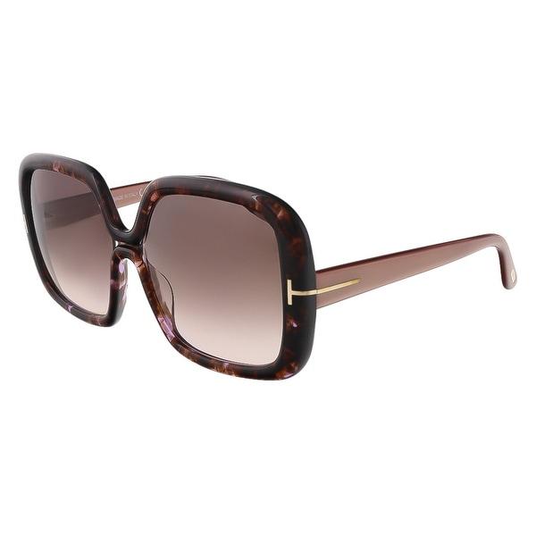 Tom Ford FT0389/S 50F Valeria Purple Tortoise Square Sunglasses