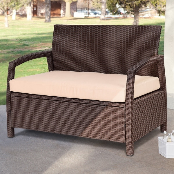 Overstock Clearance Furniture: Shop Costway Outdoor Rattan Loveseat Bench Couch