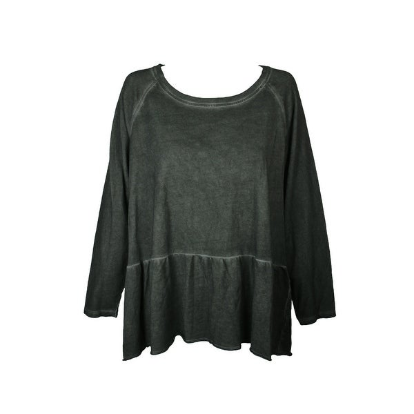 0a9339b7604 Style Co Plus Size Olive Green High-Low Hem Ruffled Raglan Sleeve Top 1X