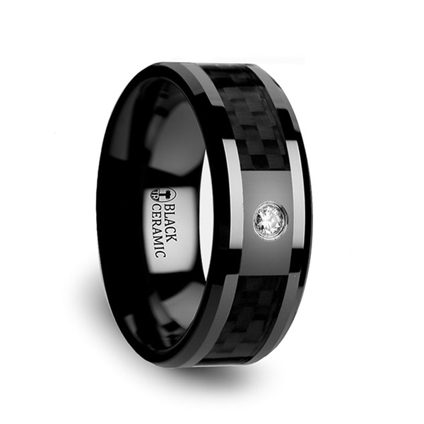 ANGUS Black Ceramic Diamond Wedding Band with Black Carbon Fiber Inlay 8mm