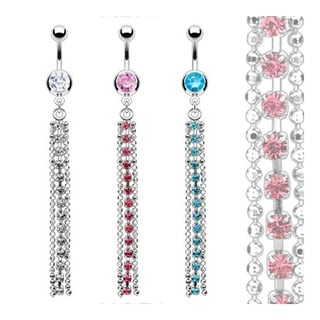 Stainless Steel Single Gem Navel Belly Button Ring with Multi Gem Long Chain Dangle