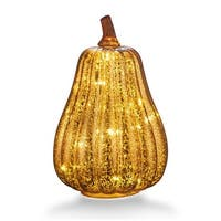 """Mercury Glass 8.7"""" Battery Operated LED Pumpkin Lights with Timer, Good for Holiday Decoration"""