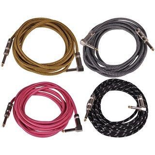 Seismic Audio - 4 Pack of Colored 12 Foot Woven Cloth Guitar/Instrument Cables