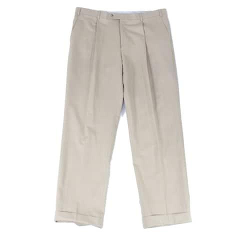 Hart Schaffner Marx Mens Pants Beige Size 36X30 Dress Pleated Wool
