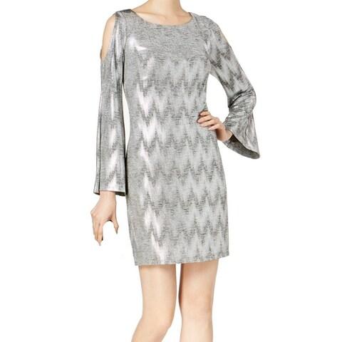 Jessica Howard Silver Womens 14 Metallic Cold-Shoulder Shift Dress