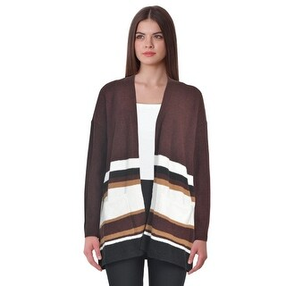 Style & Co Striped Colorblocked Long Sleeve Cardigan Sweater Dried Plum Combo