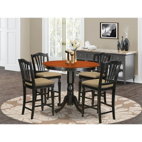 Black Solid Wood 5-piece Counter Height Pub Dining Table and Chair Set