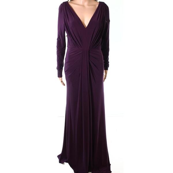 Vera Wang Purple Womens Size 6 Long Sleeve V-Neck Gown Dress