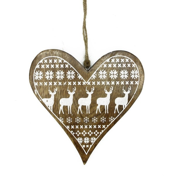 "8.5"" Alpine Chic Mango Wood Heart with Reindeer and Snowflake Motif Hanging Christmas Ornament"
