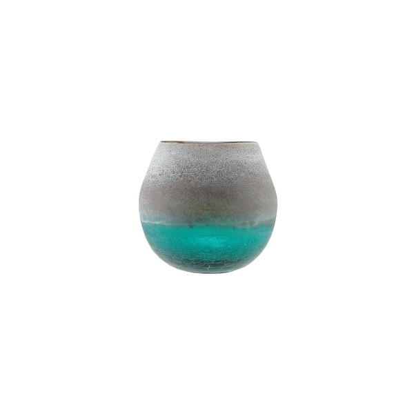 """6"""" Teal Blue Crackled and Brown Frosted Hand Blown Decorative Glass Vase"""