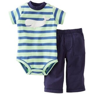 Carter's Baby Boys' 2 Piece Blue Stripe with White Whale and Blue Pants Set (6 Months)