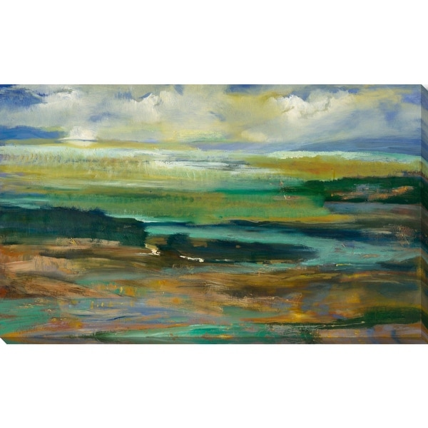"""Teal Green and Sky Blue Abstract Painting Canvas Rectangular Wall Art Decor 18"""" x 11"""" - N/A"""