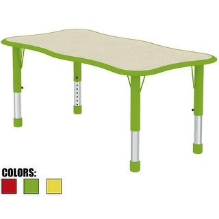 2xhome - Green Kids Table Height Adjustable Wave Shape Activity Table School Table Childs Bright Color Table Preschool