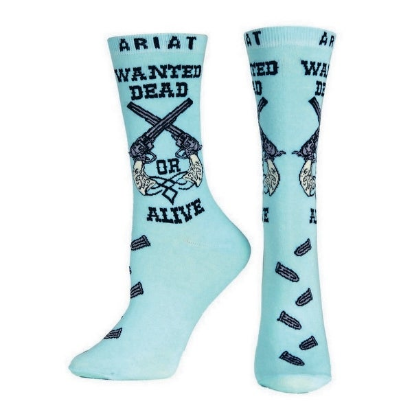 Ariat Socks Womens Western Wanted Ankle Pistols Turquoise