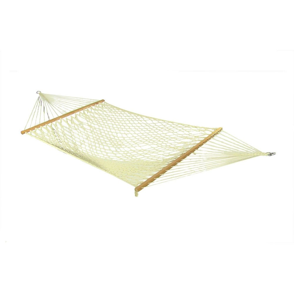 Sunnydaze Cotton 52 Inch Wide Rope Hammock with Wood Spreader Bars - White - Thumbnail 0