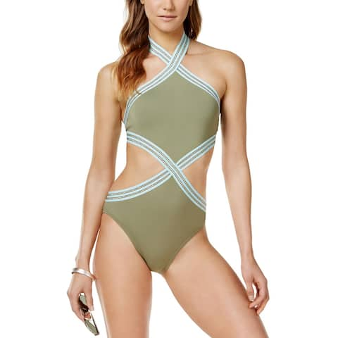 Vince Camuto Sea Band High-Neck Monokini One-Piece Swimsuit 10 Avocado