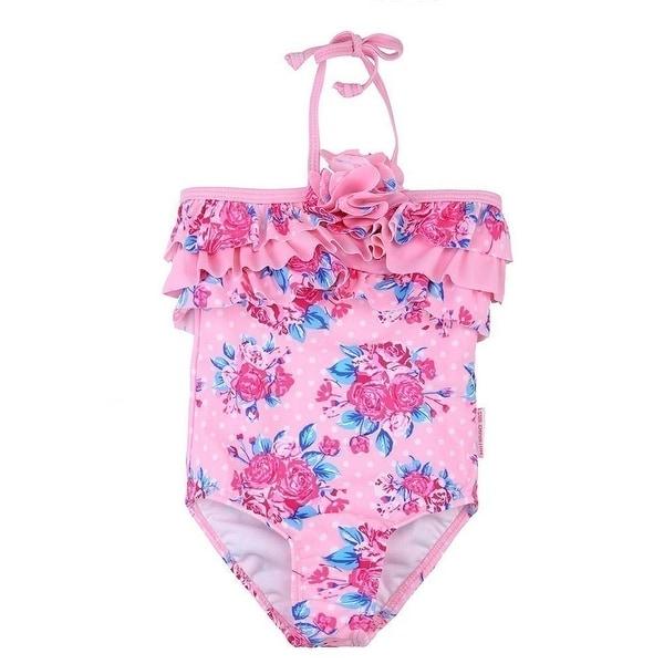 Sun Emporium Baby Girls Pink Rose Vintage Halter One Piece Swimsuit