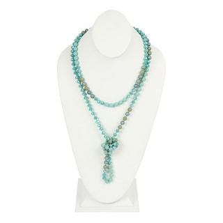 """RIAH FASHION Sparkly Natural Stone Knotted Glass Beads Long Necklace - 60"""" Full Length"""