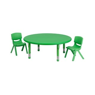 Offex 45'' Round Adjustable Green Plastic Activity Table Set with 2 School Stack Chairs [OF-YU-YCX-0053-2-ROUND-TBL-GREEN-R-GG]