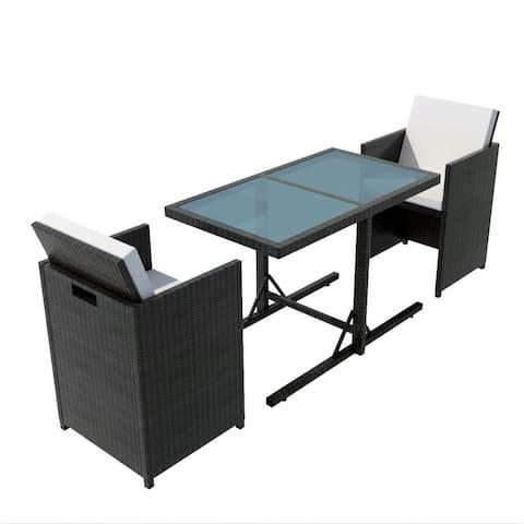 vidaXL Garden Dining Set 7 Pieces Wicker Chairs Table Furniture