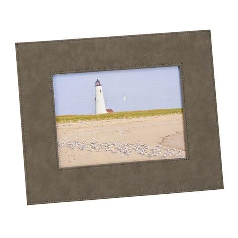"5"" X 7"" Gray Leatherette Rectangular Photo Frame"