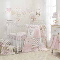 Lambs & Ivy Baby Love Metallic Gold/Pink/White Hearts, Stripes and Chevrons 4-Piece Nursery Crib Bedding Set
