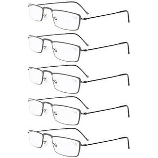 Eyekepper 5-Pack Stainless Steel Frame Half-eye Style Reading Glasses Gunmetal +2.5