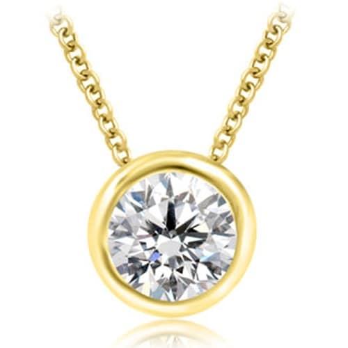 0.25 cttw. 14K Yellow Gold Round Cut Diamond Solitaire Bezel Pendant - White H-I