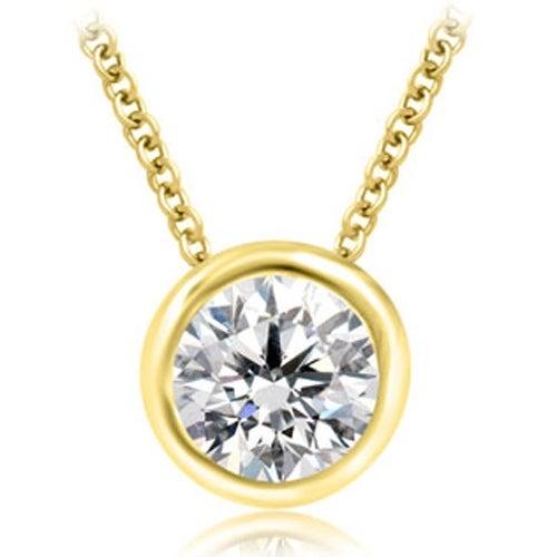 0.50 cttw. 14K Yellow Gold Round Cut Diamond Solitaire Bezel Pendant