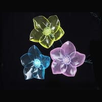 Set of 10 Multi-Color LED Tropical Flower Novelty Christmas Lights - Green Wire