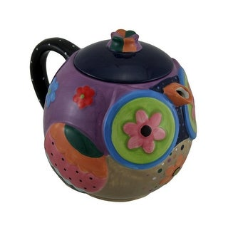 Brightly Colored Whimsical Ceramic Owl Teapot 33 Oz