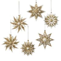 Club Pack of 24 Gold and Silver Sunflower and Snowflake Christmas Ornaments