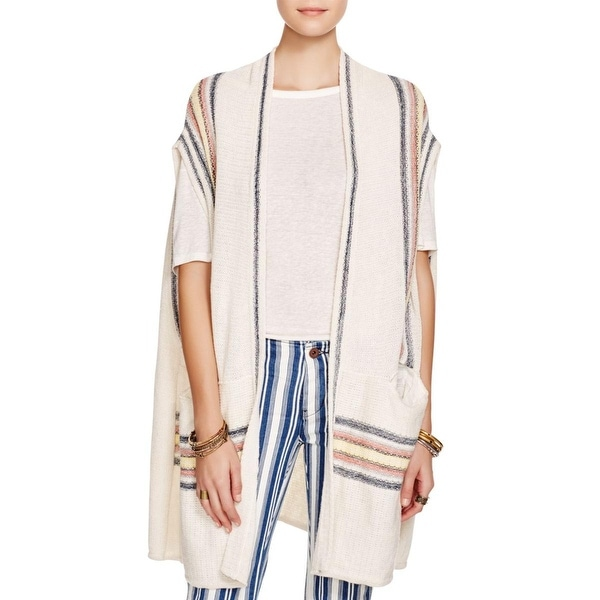 Free People Womens Deck Chair Kimono Striped Trim Drapey