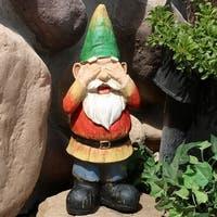 Sunnydaze Steven Sees No Evil Gnome Garden Statue and Lawn Ornament - 12-Inch