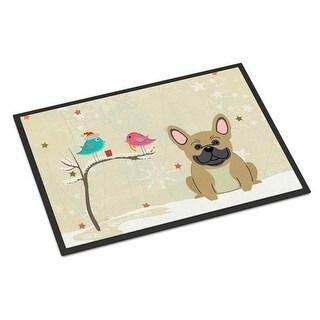 Carolines Treasures BB2482MAT Christmas Presents Between Friends French Bulldog Cream Indoor or Outdoor Mat 18 x 0.25 x 27 in.