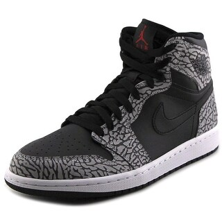 Jordan Air Jordan 1 Retro High Men Round Toe Leather Black Basketball Shoe