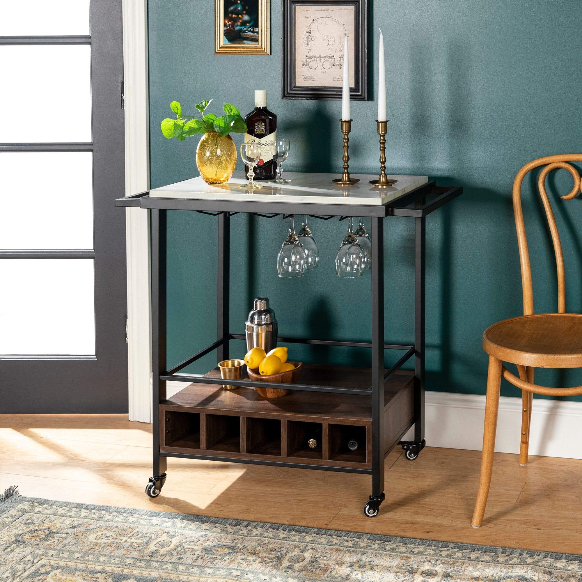 Faux Marble Serving Bar Cart With Dark Walnut Base On Sale Overstock 22405307