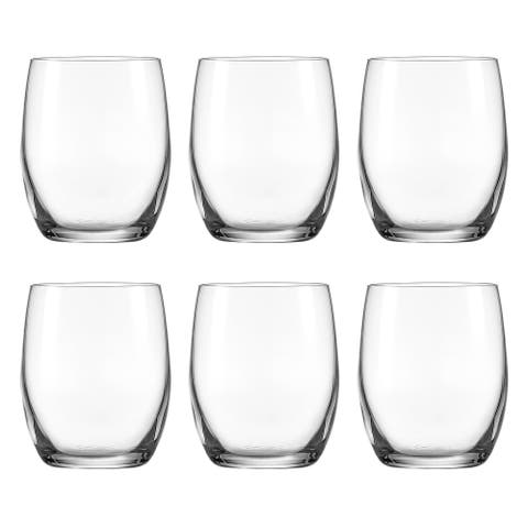 Glass - Stemmless Wine - Set of 6 - 20 oz. - Classic Clear - Made in Europe - By Majestic Gifts Inc.
