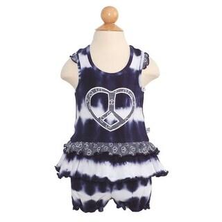 Baby Girls Navy White Tie Dye Peace Heart Ruffle Dress Set Size 0-3M