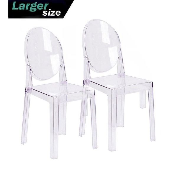 2xhome - Set of Two (2) - LARGE Size - Clear Victorian Transparent Style Armless Side Chairs