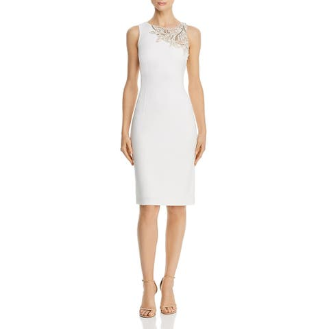 Aidan Mattox Womens Midi Dress Sleeveless Beaded - Ivory